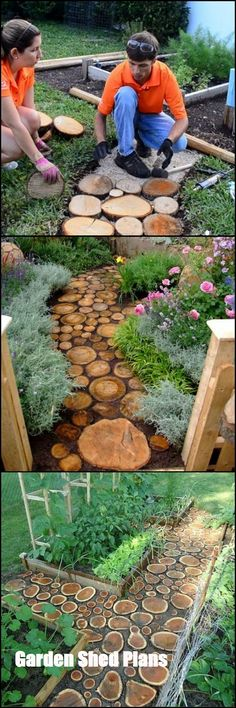 Use old tools instead of new furniture when you are decorating your garden so you can both make a profit and catch a creative image. Here's 21 DIY Garden Design Ideas. Diy Garden, Dream Garden, Garden Paths, Garden Art, Home And Garden, Garden Crafts, Garden Edging, Garden Boxes, Glass Garden