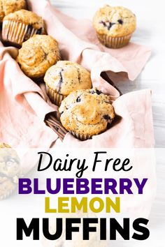 These dairy free blueberry muffins are delicious for a morning treat or easy grab-and-go snack. You'll love this lemon poppyseed muffin that's packed with fresh blueberries. Try this dairy free muffin recipe today. Lemon Raspberry Muffins, Lemon Poppyseed Muffins, Lemon Muffins, Blue Berry Muffins, Dairy Free Recipes For Kids, Dairy Free Treats, Baby Food Recipes, Muffin Recipes, Vegan Recipes