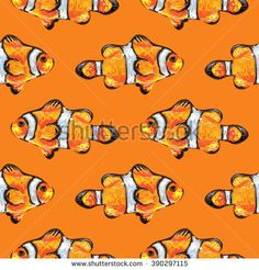 Seamless tropical sea pattern with clown fish. Summer vector background. Perfect for wallpapers, pattern fills, web page backgrounds, surface textures, textile