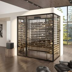 The ultimate custom wine cellar for your condo or home. This four-sided wine cellar is ideal for creating a separation between rooms. The Wine Square offers you custom wine cellar products to meet all your needs. Wine Cellar Modern, Glass Wine Cellar, Home Wine Cellars, Wine Cellar Design, Dream Home Design, House Design, Modern Home Bar Designs, Bloomfield Homes, Wine Cellar Basement