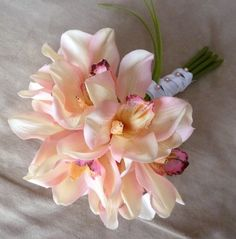 Realistic Cymbidium Orchid Bridal Bouquet   Orange by GlamFloral