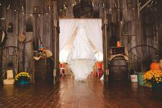 #weddingdress #orange #turquoise #brown #burlap #wood #masonjar #wedding #rustic #barn #county #fall  #HughesMarseeWedding13