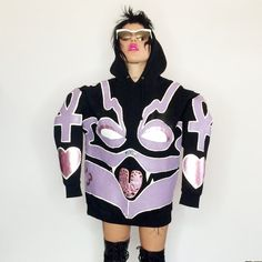 INSANE custom purple demon sweatshirt with leather patchwork....Worn only once…