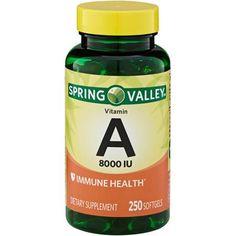 Spring Valley Vitamin A 8000 IU Dietary Supplement Softgels, 250 Count - Walmart.com