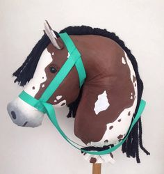 A painted paint, bay, stick horse!    Stick horse, hobby horse, cowgirl, cowboy, birthday, diy, realistic, unique, handmade