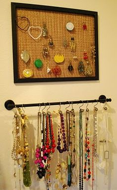 Necklace & Earring Organization -- yay for necklaces. A big no to earring thing