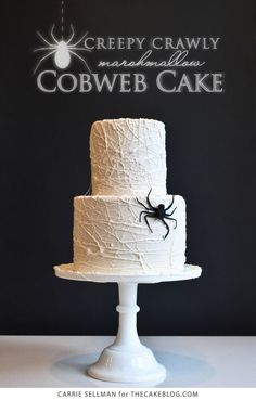 Halloween DIY: How to make this easy, but totally sophisticated Halloween marshmallow cobweb cake. (You can even cheat and start with bakery cakes.) | The Cake Blog