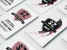 business card, pink brushwork by SZeta on Creative Market