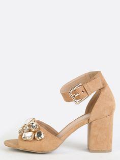 Bejeweled Ankle Strap Block Heels CAMEL