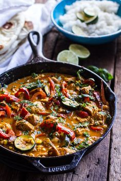 Simple Summertime Basil Chicken Curry with Coconut Ginger-Lime Rice | halfbakedharvest.com