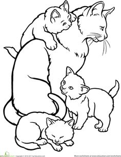 Worksheets: Color the Mommy Cat and Kittens