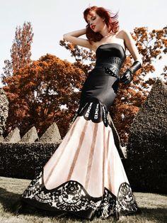 Black and White Wedding - black and white wedding dress; black and white wedding gown; black and white bridal gown; Temperley London
