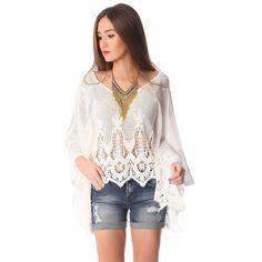White crochet lace poncho top