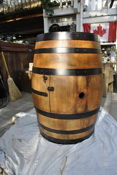 Our barrel is now all stained and door hardware is fastened.