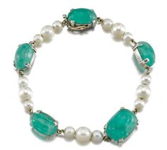 Susanne Belperron bracelet, emeralds and cultured pearls.