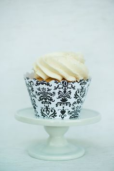 Damask Black and White Cupcake Wrappers by HooplaEvents on Etsy, $5.99
