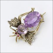 Late Victorian Silver Gilt Amethyst Ruby Fly or Bug Pin