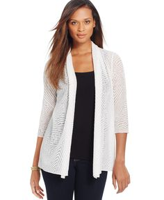 Jm Collection Textured Open-Knit Cardigan