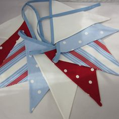 Fabric Bunting  Nautical Style  Red White  Pale Blue 9 double sided pennant flags 8 foot long plus ties New Handmade