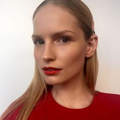 Fresh out of the lab and onto her lips our newest shade of red @katrinthormann @suprememgmt #organic #lipstick #redlips #makeup #makeupartist #bts #photoshoot