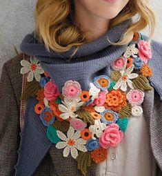 Crochet Flowers Design Gorgeous Crochet Flower Embellished Scarf by Phildar - Mode Crochet, Crochet Diy, Freeform Crochet, Irish Crochet, Crochet Shawl, Crochet Crafts, Crochet Projects, Blanket Crochet, Blanket Scarf