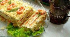 """Tortul-aperitiv """"Napoleon"""" — un deliciu, care-i va impresiona pe toți invitații dumneavoastră! - Retete Usoare Salmon Cakes, Smoked Salmon, Kefir, International Recipes, Fish Recipes, Lasagna, Quiche, Sandwiches, Good Food"""