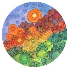 Original abstract circle watercolor and ink doodle paintings by Courtney Autumn Martin. Circle Painting, Ink Doodles, Alcohol Ink Painting, Alcohol Inks, Thing 1, Watercolor And Ink, Large Prints, Giclee Print, Digital Prints