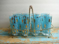 Vintage Turquoise  Gold Glasses