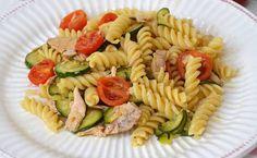 Pâtes aux légumes et au thon WW, recette d'un savoureux plat estival et complet facile à faire à base de pâtes, de courgettes, de tomates cerise et de thon.