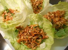 Minced Garlic Chicken Served in Lettuce Leaves I love this! Using lettuce leaves instead if bread or taco shells or wraps! Fantastic!