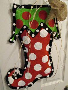 Christmas Stocking Burlap Door Hanger