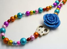 Sugar Skull Necklace Day of the Dead Colorful Rainbow by Exgalabur, $24.00