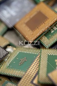 circuit board close up - A close up of some circuit boards with heatsinks