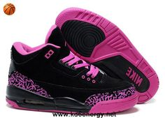 Black Pink Women Air Jordans 3 III Fluff Newest Now