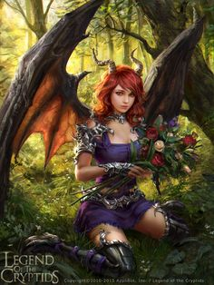 Legend of the Cryptids - Anneli, Beguiled Demon by anotherwanderer female succubus tiefling wings horns forest woods armor clothes clothing fashion player character npc | Create your own roleplaying game material w/ RPG Bard: www.rpgbard.com | Writing inspiration for Dungeons and Dragons DND D&D Pathfinder PFRPG Warhammer 40k Star Wars Shadowrun Call of Cthulhu Lord of the Rings LoTR + d20 fantasy science fiction scifi horror design | Not Trusty Sword art: click artwork for source