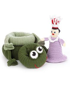 Playtime Stackers - These adorable stacker toys are comprised of three rings and a doll base. The rings are three different sizes and are made to look like a baby bottle, a barn and cow, a baker man and donuts, a race car driver and car, a princess and a frog and an alien and space ship. All are made using worsted-weight yarn and are stuffed with fiberfill. The stackers are 11 inches tall when completed. Available at Maggie's Crochet