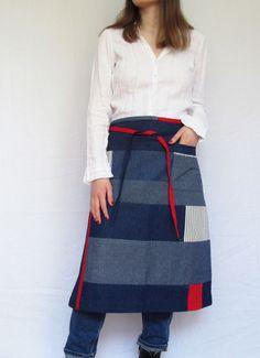Japanese Boro Style Denim Patchwork Apron, Sustainable Clothing, Unisex No Rustic Aprons, Denim Patchwork, Ticking Stripe, Fabric Remnants, Sustainable Clothing, Boro, Denim Fashion, French Vintage, Blue Denim