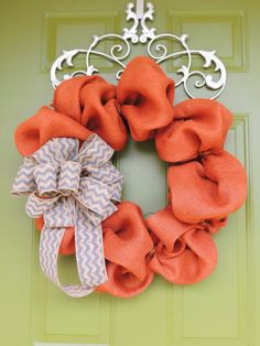 Fall Burlap and Chevron Print Wreath on Etsy, $55.00 and that wreath hanger!!