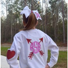 Monogram Valentine's Day T Shirt Monogram Hair Bow Valentines Hair Bow... ($30) ❤ liked on Polyvore featuring tops, t-shirts, grey, women's clothing, monogrammed long sleeve t shirt, gray top, gray t shirt, longsleeve t shirts and gray tee