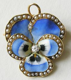 ~Antique enameled Pansy  brOOch pendanT ~*