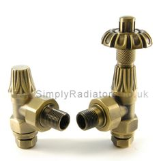 UKAA buy & sell Pairs of Abbey Old English Brass Thermostatic Radiator Valves for Antique Victorian Cast Iron Radiators Online & for sale in our Shop. Traditional Radiators, Column Radiators, Radiator Valves, Cast Iron Radiators, Designer Radiator, Thing 1, Architectural Antiques, Old English, Heating Systems