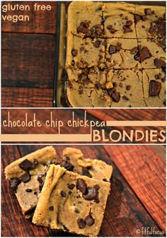 Chocolate Chip Chickpea Blondies | Vegan | Gluten Free | Recipe Redux | Nut…