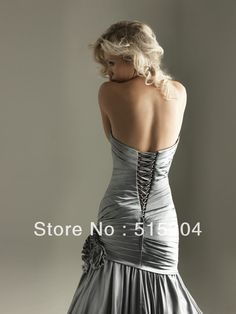 Custom Made Sweetheart Empire Waist Sexy Open Back Peach Pink Blue Silver Color Mermaid Prom Dress 2013 New Arrival back