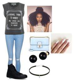 """Untitled #141"" by cannonsamiya on Polyvore featuring New Look, Wildfox, Converse and Lord & Taylor"
