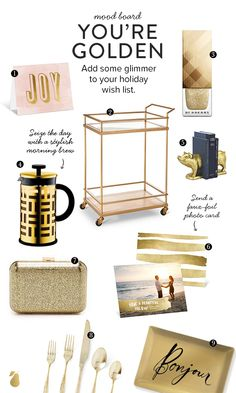 9 golden goodies we love for a dash of holiday glamour. #Gold