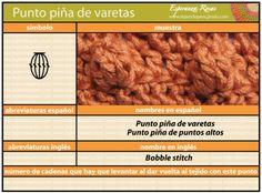 Cómo tejer el punto piña de varetas a crochet