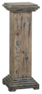 Alejo Aged Wood Pedestal