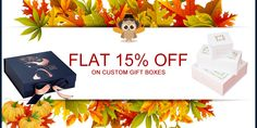 Get Flat 15% Discount till Thanksgiving Day on Custom Gift Boxes. With Free Shipping and Free Design Support. For more info: Call: 888-851-0765 Email: support@thecustompackaging.com