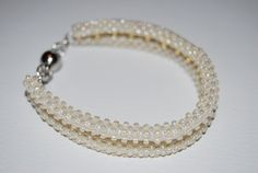 Delicate Double Beaded Bracelet made with TOHO beads - handmade using the Cubic Right Angle Weave (C-RAW) technique by BeaduBeadu on Etsy