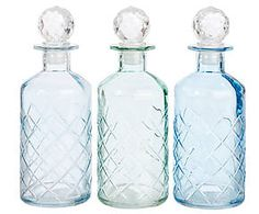 3 Bouteilles verre, bleu - H19